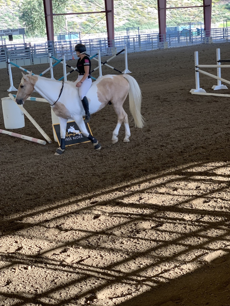 Alycia Burton riding Goldrush on her Free Riding Tour in Norco